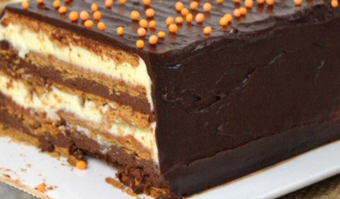Tarta de 2 chocolates con galletas y sin horno